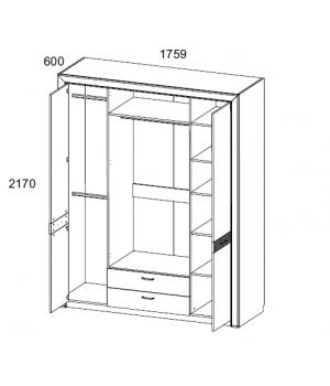 Шкаф Вена 4D2S Z с зеркалом