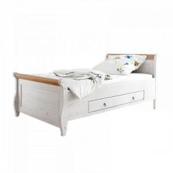 Кровать Мальта 100 с ящиками, (белый воск + антик)