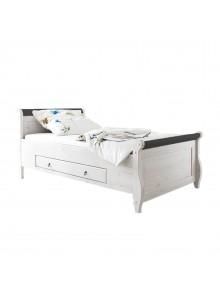 Кровать Мальта 100 с ящиками, (белый воск + колониал)
