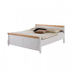 Кровать полуторная Мальта 140 (белый воск + антик)