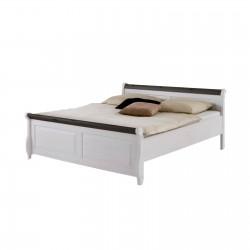 Кровать полуторная Мальта 140 (белый воск + колониал)