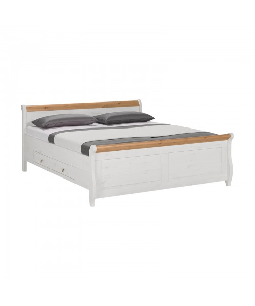 Кровать полуторная Мальта 140 с ящиками, (белый воск + антик)