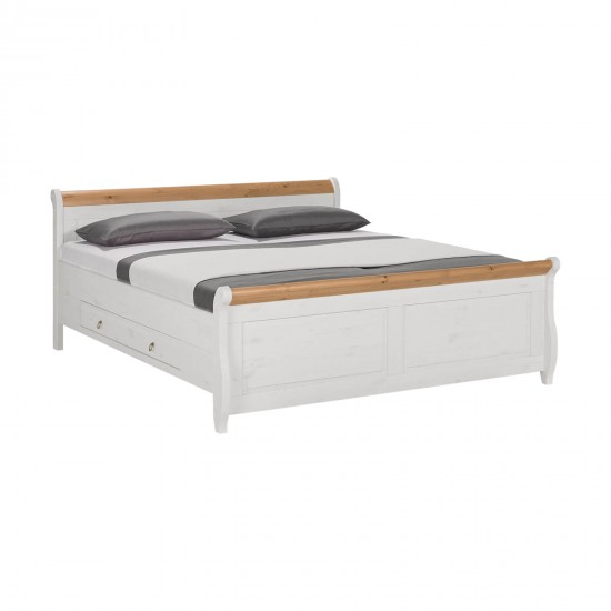 Кровать двуспальная Мальта 160 с ящиками (белый воск + антик)