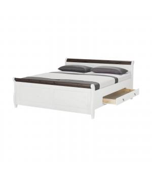 Кровать двуспальная Мальта 160 с ящиками (белый воск + колониал)