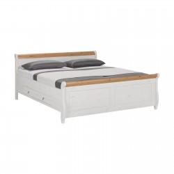 Кровать двуспальная Мальта 180 с ящиками (белый воск + антик)