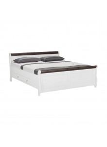 Кровать двуспальная Мальта 200 с ящиками (белый воск + колониал)