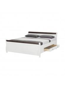 Кровать двуспальная Мальта 180 с ящиками (белый воск + колониал)