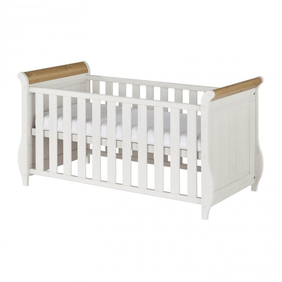 Кровать детская Хельсинки Бейби, (белый воск + антик)
