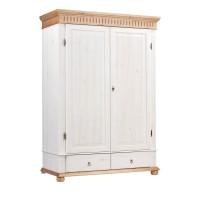 Шкаф двухстворчатый Хельсинки 2 M (белый воск + антик)