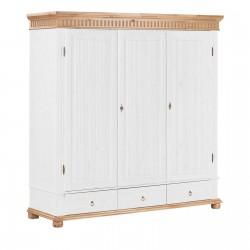Шкаф трёхстворчатый Хельсинки 3 M (белый воск + антик)