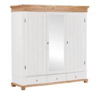 Шкаф трёхстворчатый Хельсинки 3 SP с зеркалом (белый воск + антик)