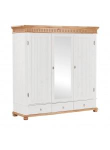 Шкаф трёхстворчатый Хельсинки 3 SPM с зеркалом (белый воск + антик)