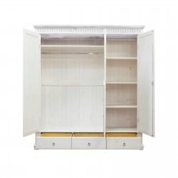 Шкаф трёхстворчатый Хельсинки 3 SP с зеркалом (белый воск)