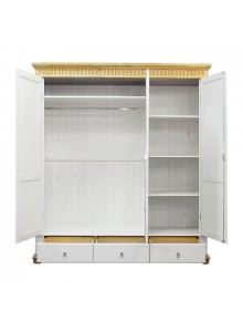 Шкаф трёхстворчатый Хельсинки 3 SPGTM с зеркалом (белый воск + антик)
