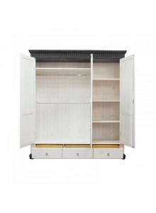 Шкаф трёхстворчатый Хельсинки 3 SPGTM с зеркалом (белый воск + колониал)